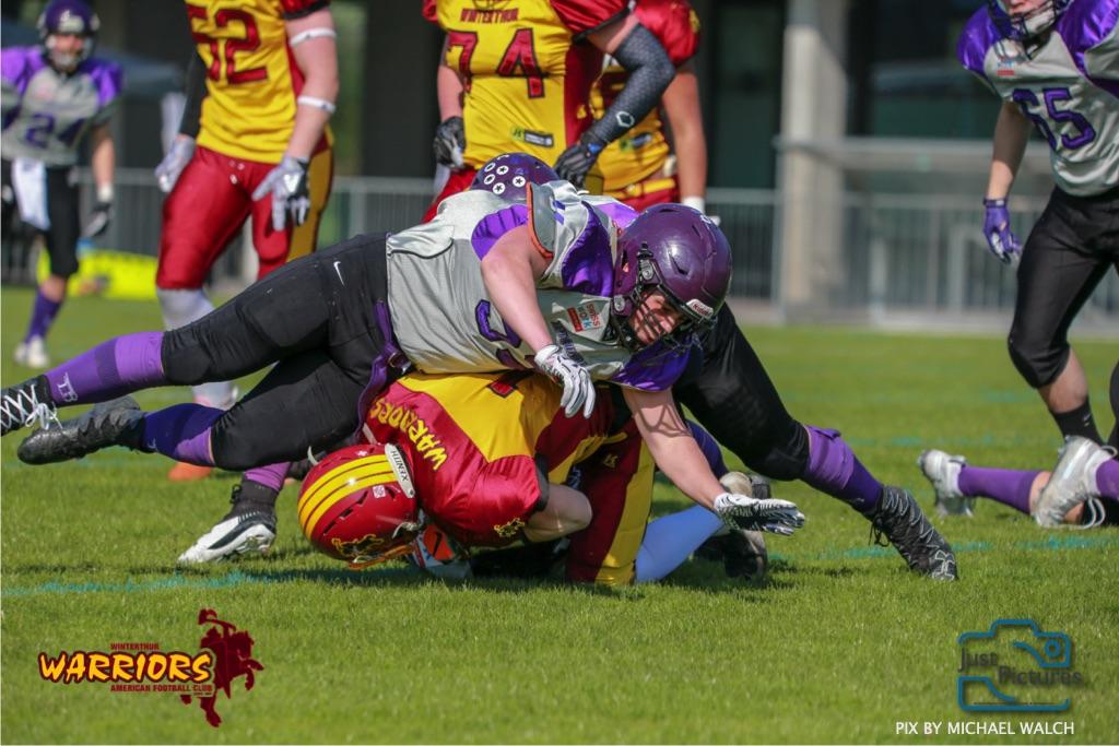 Beim US-Sports spiel der American Football - U19 zwischen dem Basel Gladiators und dem Winterthur Warriors, on Sunday,  31. March 2019 im Stadion Rankhof in Basel. (Just Pictures/Michael Walch)Bild-Id: WAM_55753