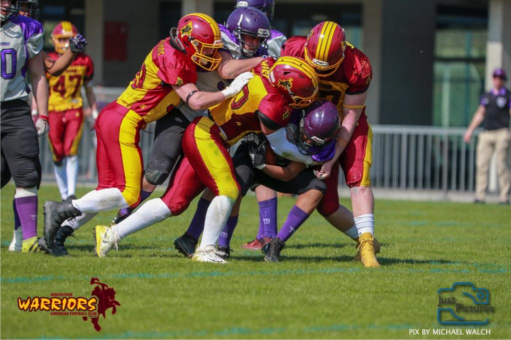 ,beim US-Sports spiel der American Football - U19 zwischen dem Basel Gladiators und dem Winterthur Warriors, on Sunday,  31. March 2019 im Stadion Rankhof in Basel. (Just Pictures /Michael Walch) Bild-Id: WAM_55807