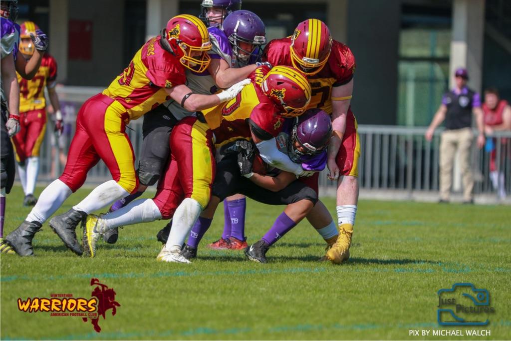 ,beim US-Sports spiel der American Football - U19 zwischen dem Basel Gladiators und dem Winterthur Warriors, on Sunday,  31. March 2019 im Stadion Rankhof in Basel. (Just Pictures /Michael Walch)Bild-Id: WAM_55808