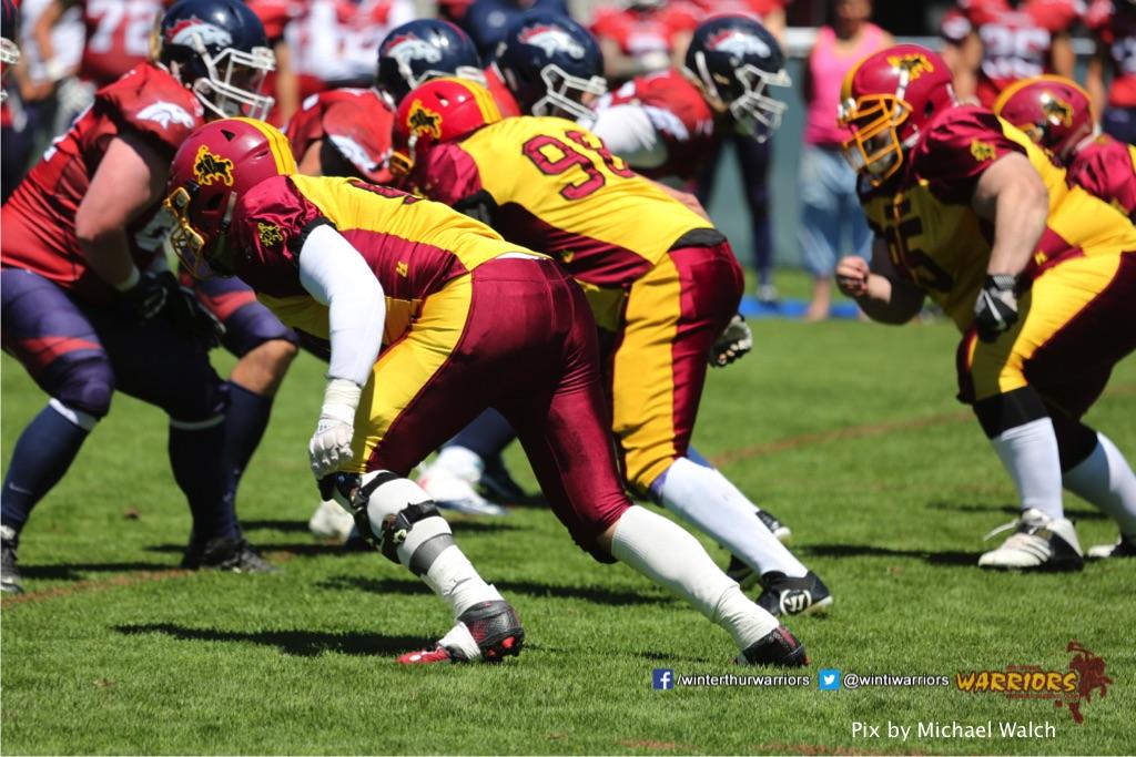 ,beim American Football Spiel zwischen den Calanda Broncos und den Winterthur Warriors , am Sonntag dem, 18. Juni 2017 auf dem Sportplatz Ringstrasse in Chur. (TOPpictures/Michael Walch)Bild-Id: WAM_00024