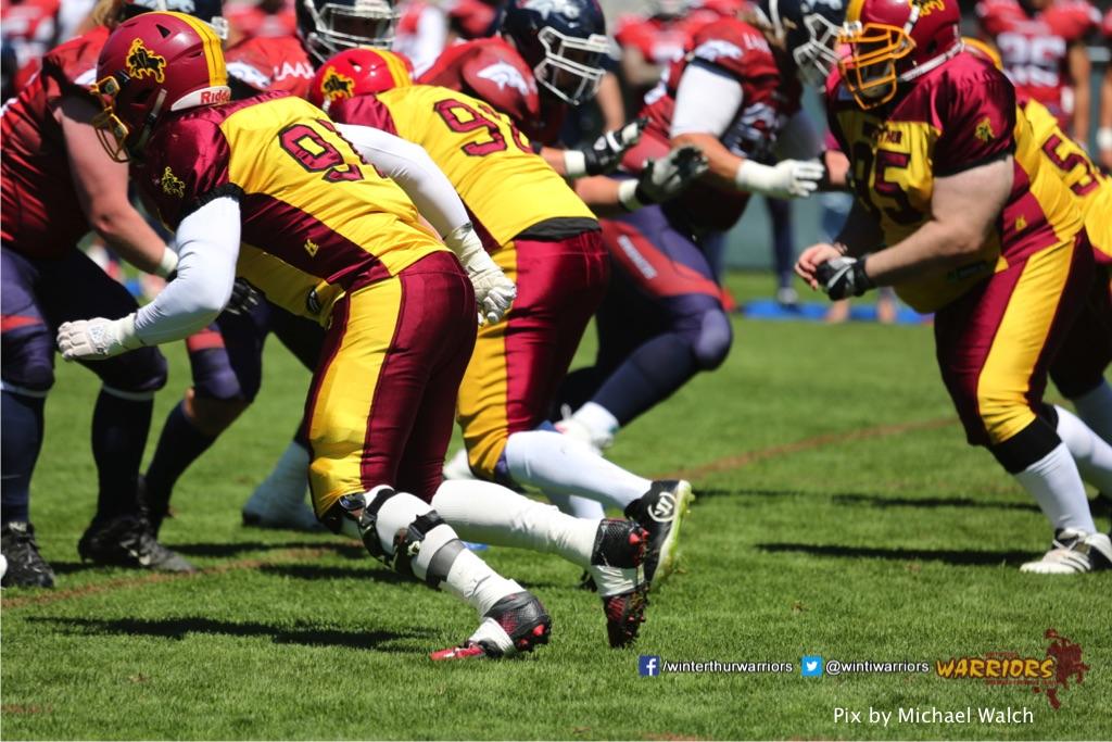 ,beim American Football Spiel zwischen den Calanda Broncos und den Winterthur Warriors , am Sonntag dem, 18. Juni 2017 auf dem Sportplatz Ringstrasse in Chur. (TOPpictures/Michael Walch)Bild-Id: WAM_00025