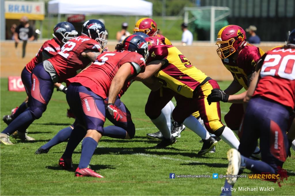 ,beim American Football Spiel zwischen den Calanda Broncos und den Winterthur Warriors , am Sonntag dem, 18. Juni 2017 auf dem Sportplatz Ringstrasse in Chur. (TOPpictures/Michael Walch)Bild-Id: WAM_00036
