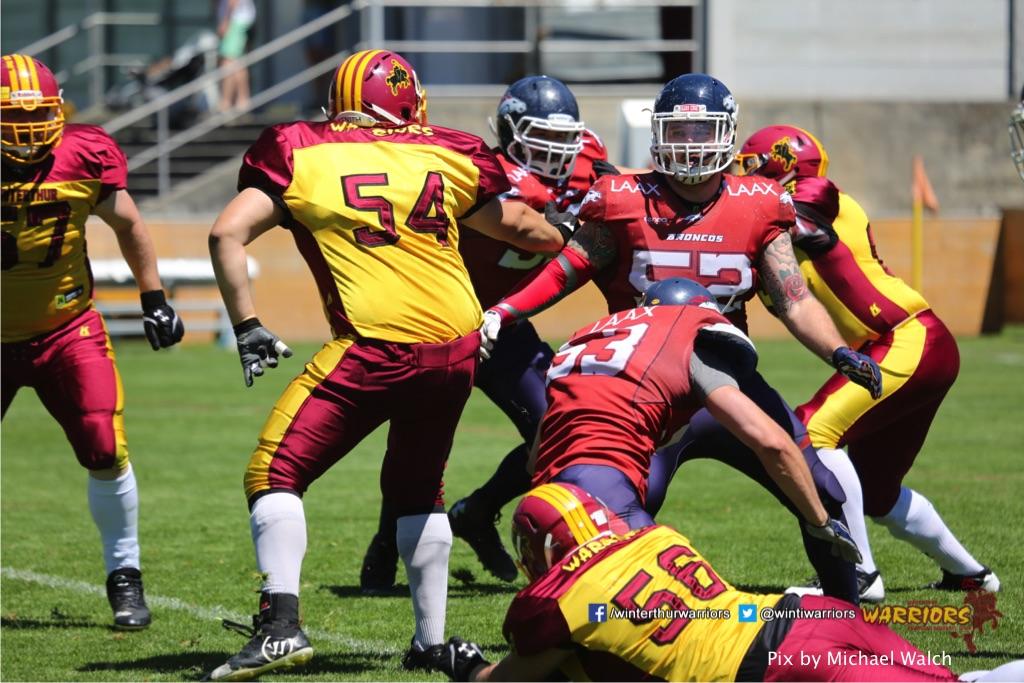 Patrick Feller (Winterthur Warriors),beim American Football Spiel zwischen den Calanda Broncos und den Winterthur Warriors , am Sonntag dem, 18. Juni 2017 auf dem Sportplatz Ringstrasse in Chur. (TOPpictures/Michael Walch)Bild-Id: WAM_00045