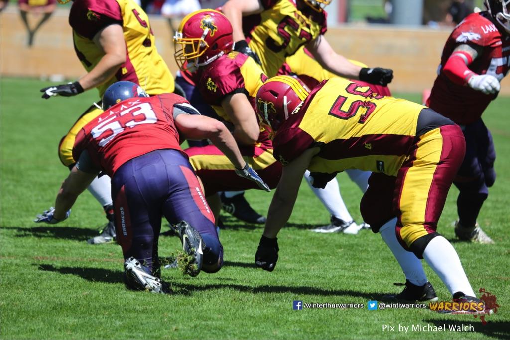 ,beim American Football Spiel zwischen den Calanda Broncos und den Winterthur Warriors , am Sonntag dem, 18. Juni 2017 auf dem Sportplatz Ringstrasse in Chur. (TOPpictures/Michael Walch)Bild-Id: WAM_00048