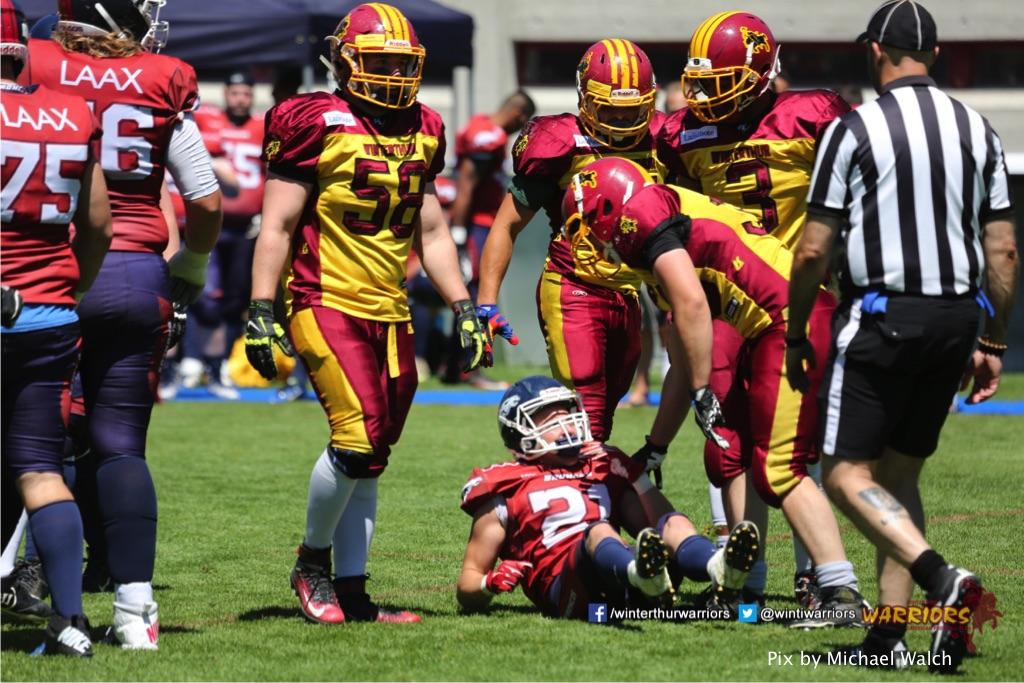 ,beim American Football Spiel zwischen den Calanda Broncos und den Winterthur Warriors , am Sonntag dem, 18. Juni 2017 auf dem Sportplatz Ringstrasse in Chur. (TOPpictures/Michael Walch)  Bild-Id: WAM_00058
