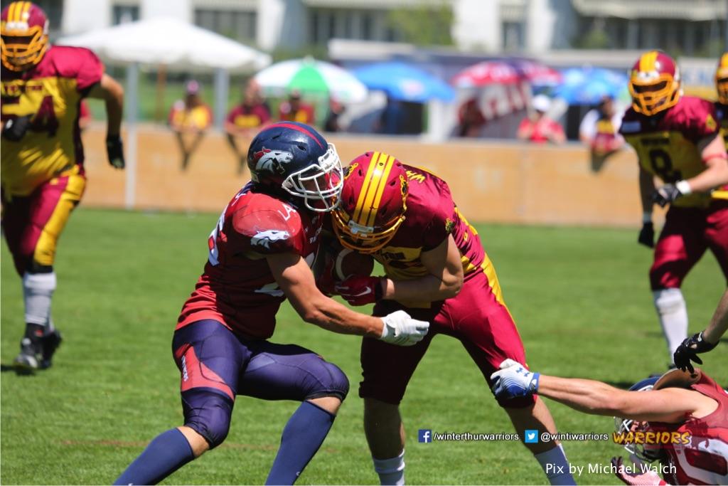 ,beim American Football Spiel zwischen den Calanda Broncos und den Winterthur Warriors , am Sonntag dem, 18. Juni 2017 auf dem Sportplatz Ringstrasse in Chur. (TOPpictures/Michael Walch)  Bild-Id: WAM_00067