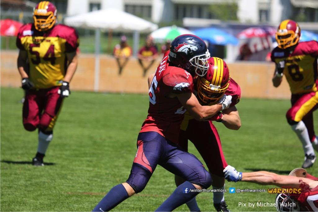,beim American Football Spiel zwischen den Calanda Broncos und den Winterthur Warriors , am Sonntag dem, 18. Juni 2017 auf dem Sportplatz Ringstrasse in Chur. (TOPpictures/Michael Walch)  Bild-Id: WAM_00068