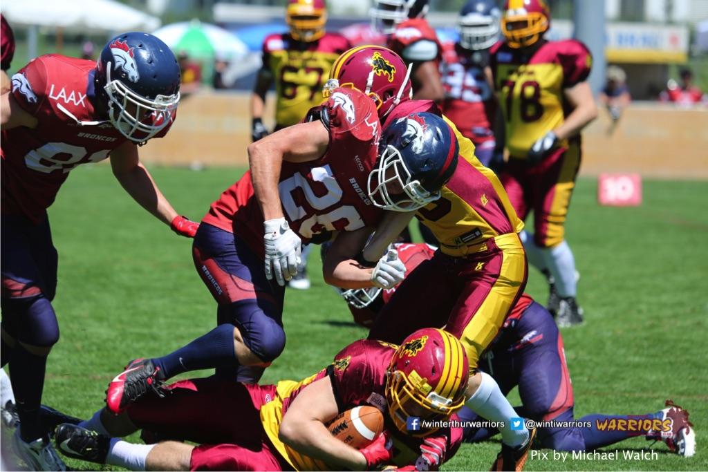 Sandro Cuervo (Winterthur Warriors),beim American Football Spiel zwischen den Calanda Broncos und den Winterthur Warriors , am Sonntag dem, 18. Juni 2017 auf dem Sportplatz Ringstrasse in Chur. (TOPpictures/Michael Walch)  Bild-Id: WAM_00070