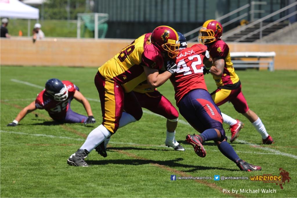 ,beim American Football Spiel zwischen den Calanda Broncos und den Winterthur Warriors , am Sonntag dem, 18. Juni 2017 auf dem Sportplatz Ringstrasse in Chur. (TOPpictures/Michael Walch)  Bild-Id: WAM_00073