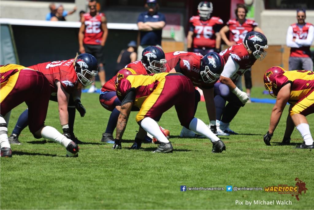 ,beim American Football Spiel zwischen den Calanda Broncos und den Winterthur Warriors , am Sonntag dem, 18. Juni 2017 auf dem Sportplatz Ringstrasse in Chur. (TOPpictures/Michael Walch)  Bild-Id: WAM_00085