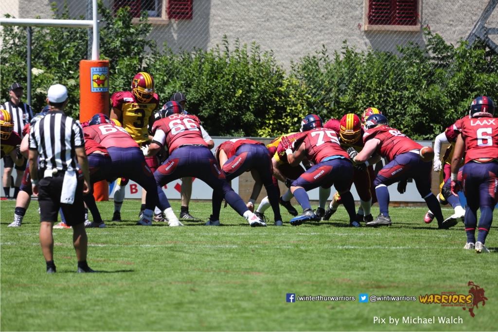 ,beim American Football Spiel zwischen den Calanda Broncos und den Winterthur Warriors , am Sonntag dem, 18. Juni 2017 auf dem Sportplatz Ringstrasse in Chur. (TOPpictures/Michael Walch)  Bild-Id: WAM_00092