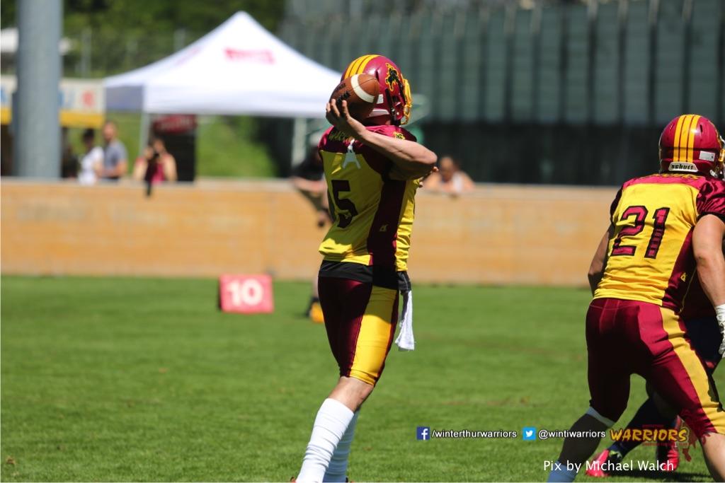 Jeremias Medici(Winterthur Warriors),beim American Football Spiel zwischen den Calanda Broncos und den Winterthur Warriors , am Sonntag dem, 18. Juni 2017 auf dem Sportplatz Ringstrasse in Chur. (TOPpictures/Michael Walch)  Bild-Id: WAM_00110
