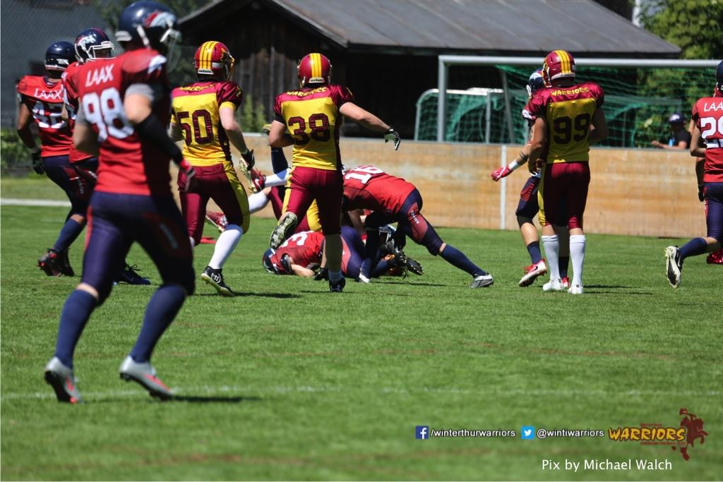 ,beim American Football Spiel zwischen den Calanda Broncos und den Winterthur Warriors , am Sonntag dem, 18. Juni 2017 auf dem Sportplatz Ringstrasse in Chur. (TOPpictures/Michael Walch)  Bild-Id: WAM_00126