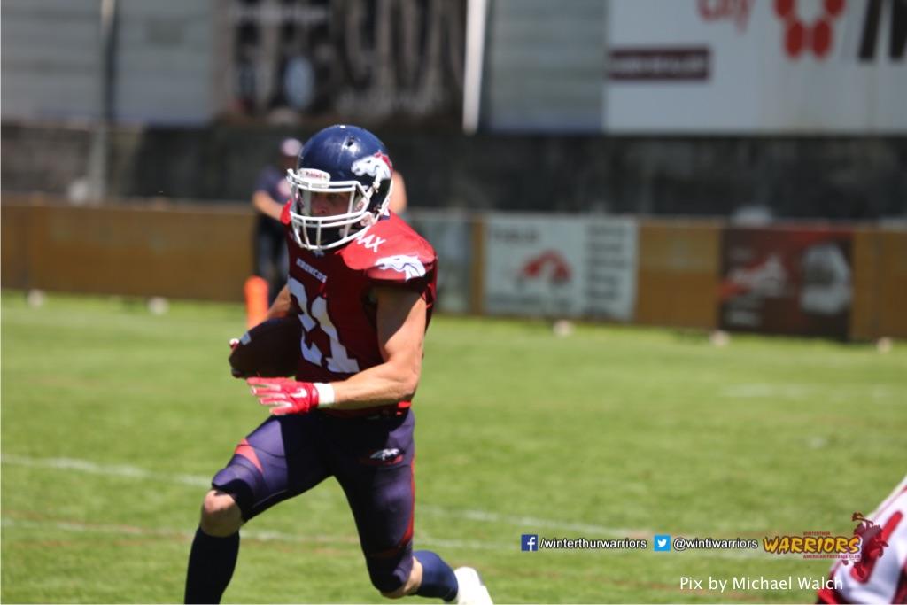 ,beim American Football Spiel zwischen den Calanda Broncos und den Winterthur Warriors , am Sonntag dem, 18. Juni 2017 auf dem Sportplatz Ringstrasse in Chur. (TOPpictures/Michael Walch)  Bild-Id: WAM_00139