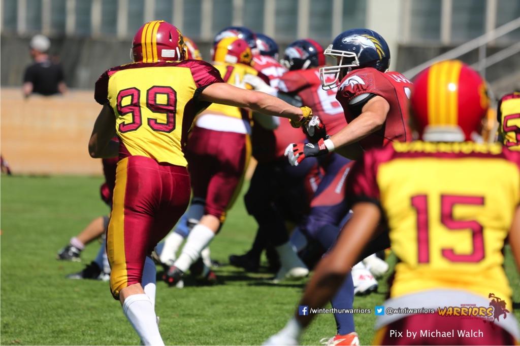 ,beim American Football Spiel zwischen den Calanda Broncos und den Winterthur Warriors , am Sonntag dem, 18. Juni 2017 auf dem Sportplatz Ringstrasse in Chur. (TOPpictures/Michael Walch)  Bild-Id: WAM_00169