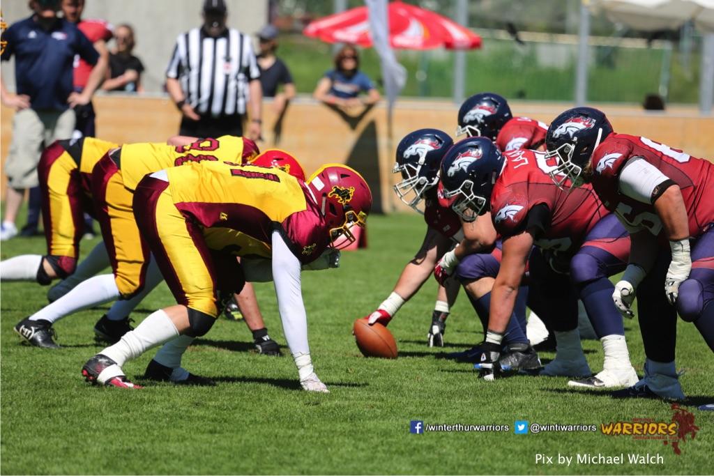 ,beim American Football Spiel zwischen den Calanda Broncos und den Winterthur Warriors , am Sonntag dem, 18. Juni 2017 auf dem Sportplatz Ringstrasse in Chur. (TOPpictures/Michael Walch)  Bild-Id: WAM_00172