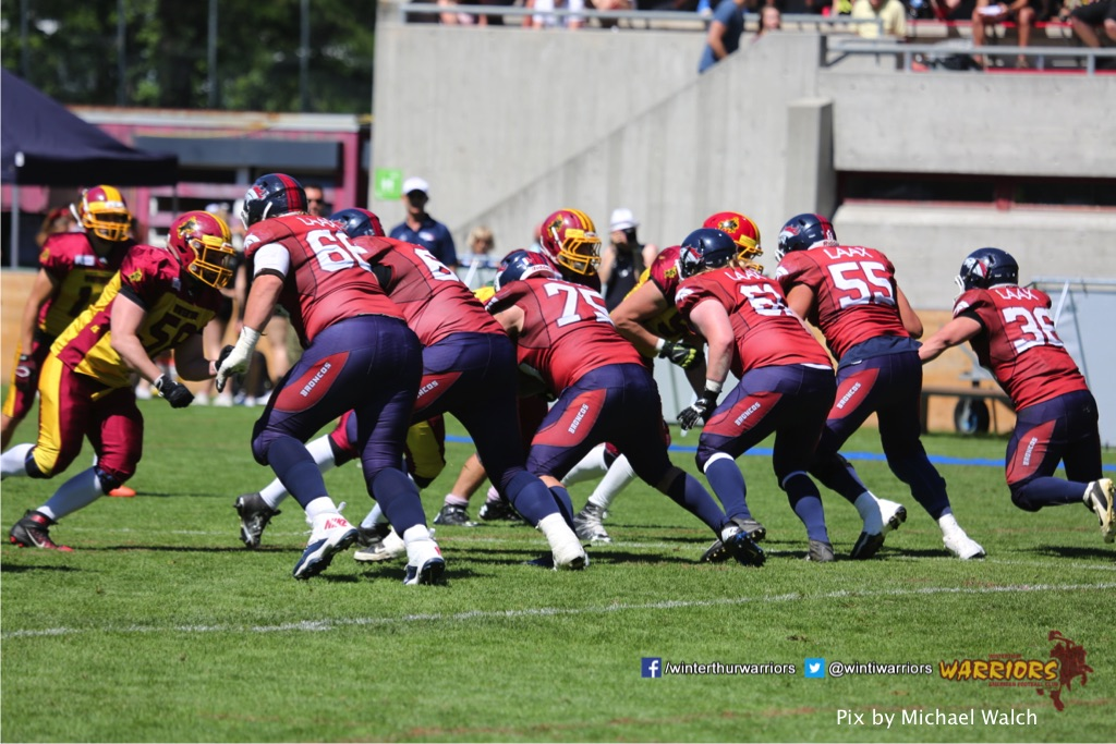 ,beim American Football Spiel zwischen den Calanda Broncos und den Winterthur Warriors , am Sonntag dem, 18. Juni 2017 auf dem Sportplatz Ringstrasse in Chur. (TOPpictures/Michael Walch)  Bild-Id: WAM_00176
