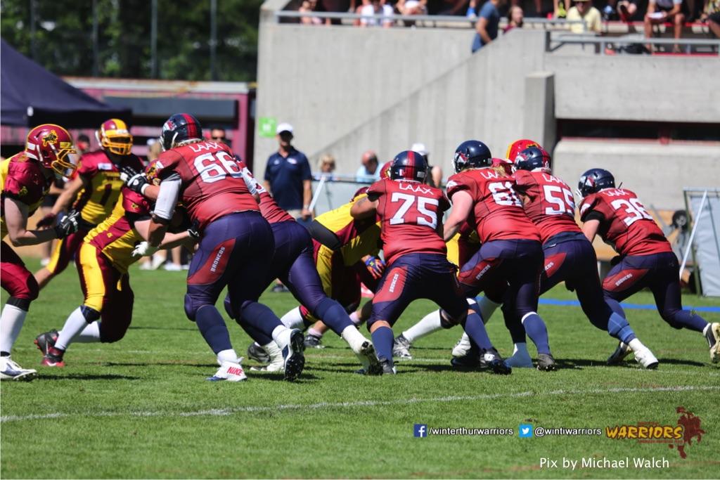 ,beim American Football Spiel zwischen den Calanda Broncos und den Winterthur Warriors , am Sonntag dem, 18. Juni 2017 auf dem Sportplatz Ringstrasse in Chur. (TOPpictures/Michael Walch)  Bild-Id: WAM_00177