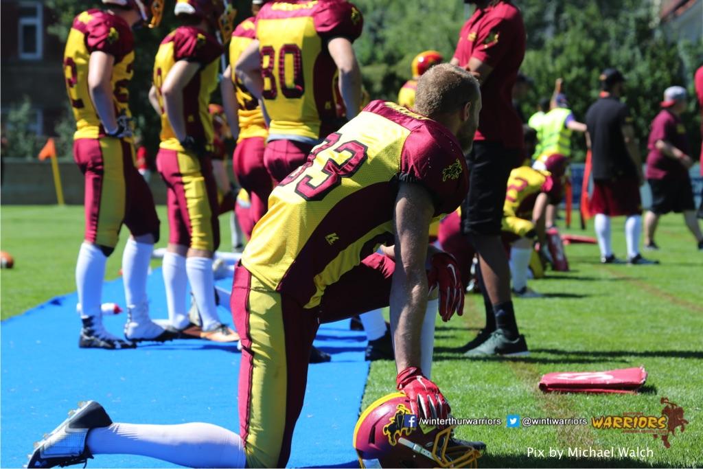 ,beim American Football Spiel zwischen den Calanda Broncos und den Winterthur Warriors , am Sonntag dem, 18. Juni 2017 auf dem Sportplatz Ringstrasse in Chur. (TOPpictures/Michael Walch)  Bild-Id: WAM_00185