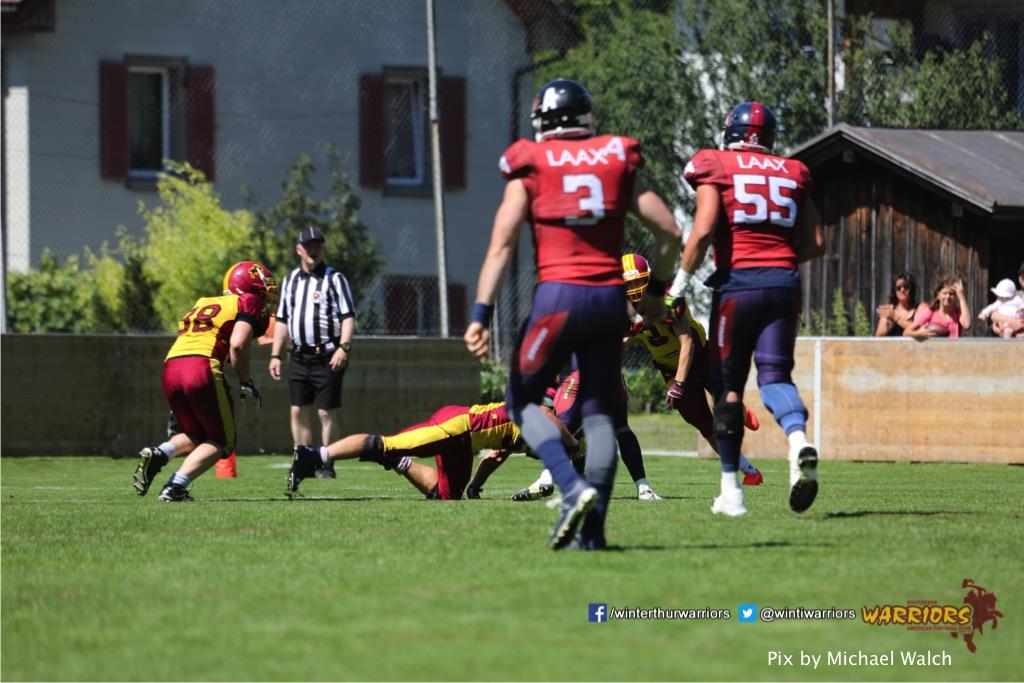 ,beim American Football Spiel zwischen den Calanda Broncos und den Winterthur Warriors , am Sonntag dem, 18. Juni 2017 auf dem Sportplatz Ringstrasse in Chur. (TOPpictures/Michael Walch)  Bild-Id: WAM_00187