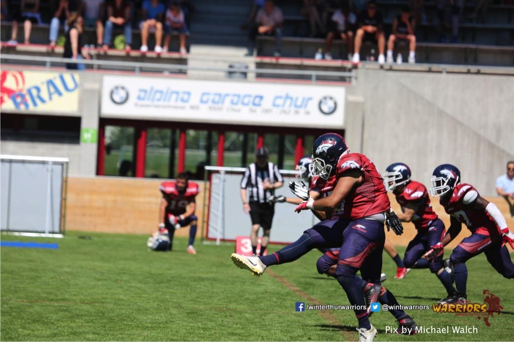 ,beim American Football Spiel zwischen den Calanda Broncos und den Winterthur Warriors , am Sonntag dem, 18. Juni 2017 auf dem Sportplatz Ringstrasse in Chur. (TOPpictures/Michael Walch)  Bild-Id: WAM_00190