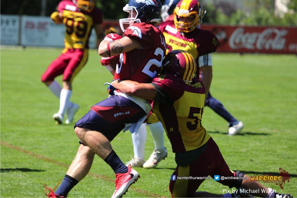 Dario Kolb,beim American Football Spiel zwischen den Calanda Broncos und den Winterthur Warriors , am Sonntag dem, 18. Juni 2017 auf dem Sportplatz Ringstrasse in Chur. (TOPpictures/Michael Walch)  Bild-Id: WAM_00195