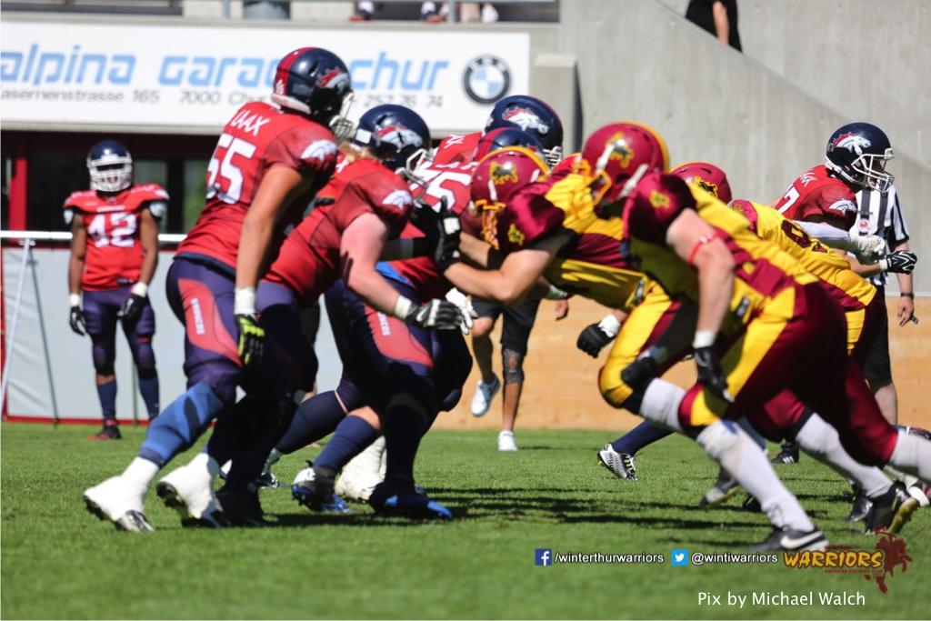 ,beim American Football Spiel zwischen den Calanda Broncos und den Winterthur Warriors , am Sonntag dem, 18. Juni 2017 auf dem Sportplatz Ringstrasse in Chur. (TOPpictures/Michael Walch)  Bild-Id: WAM_00213