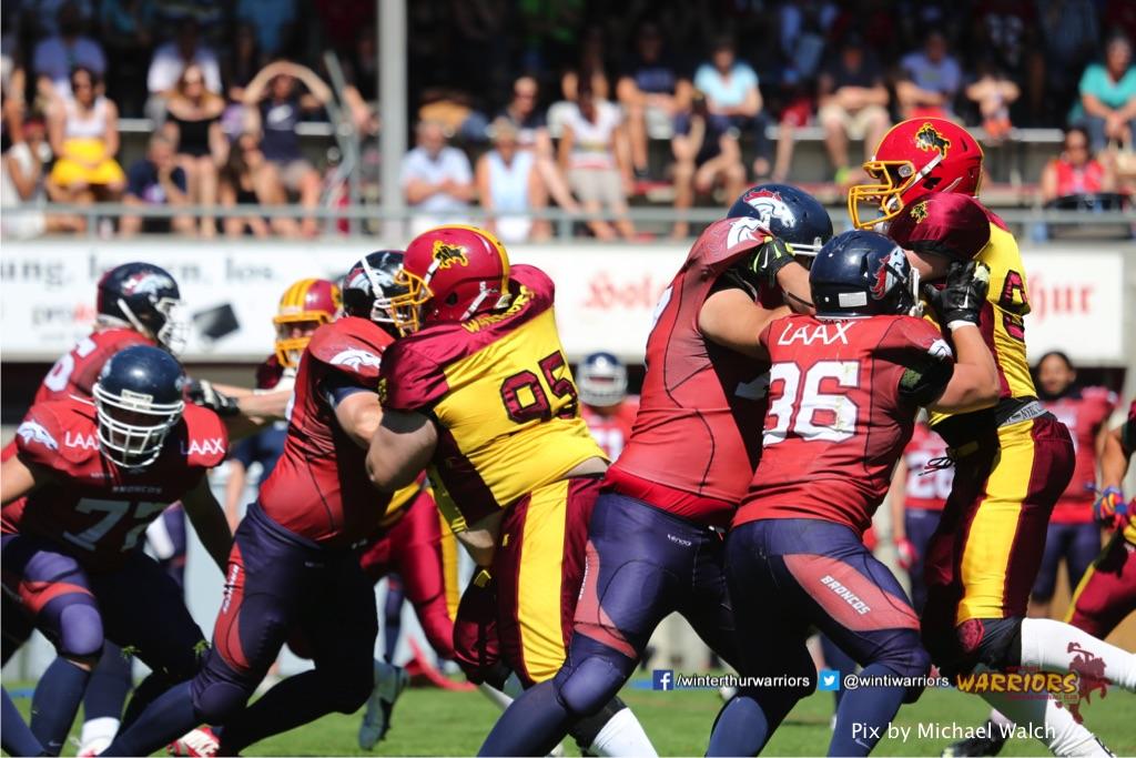 ,beim American Football Spiel zwischen den Calanda Broncos und den Winterthur Warriors , am Sonntag dem, 18. Juni 2017 auf dem Sportplatz Ringstrasse in Chur. (TOPpictures/Michael Walch)  Bild-Id: WAM_00224