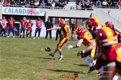 Beim US-Sports spiel der American Football - NLA zwischen dem Calanda Broncos und dem Winterthur Warriors, on Sunday,  25. March 2018 im Stadion Ringstrasse in Chur. (TOPpictures/Michael Walch)  Bild-Id: WAM_34692