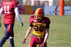 Jonas Pflueger #88 (Winterthur),beim US-Sports spiel der American Football - NLA zwischen dem Calanda Broncos und dem Winterthur Warriors, on Sunday,  25. March 2018 im Stadion Ringstrasse in Chur. (TOPpictures/Michael Walch)  Bild-Id: WAM_34867