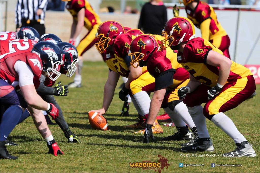 Beim US-Sports spiel der American Football - NLA zwischen dem Calanda Broncos und dem Winterthur Warriors, on Sunday,  25. March 2018 im Stadion Ringstrasse in Chur. (TOPpictures/Michael Walch)  Bild-Id: WAM_34723