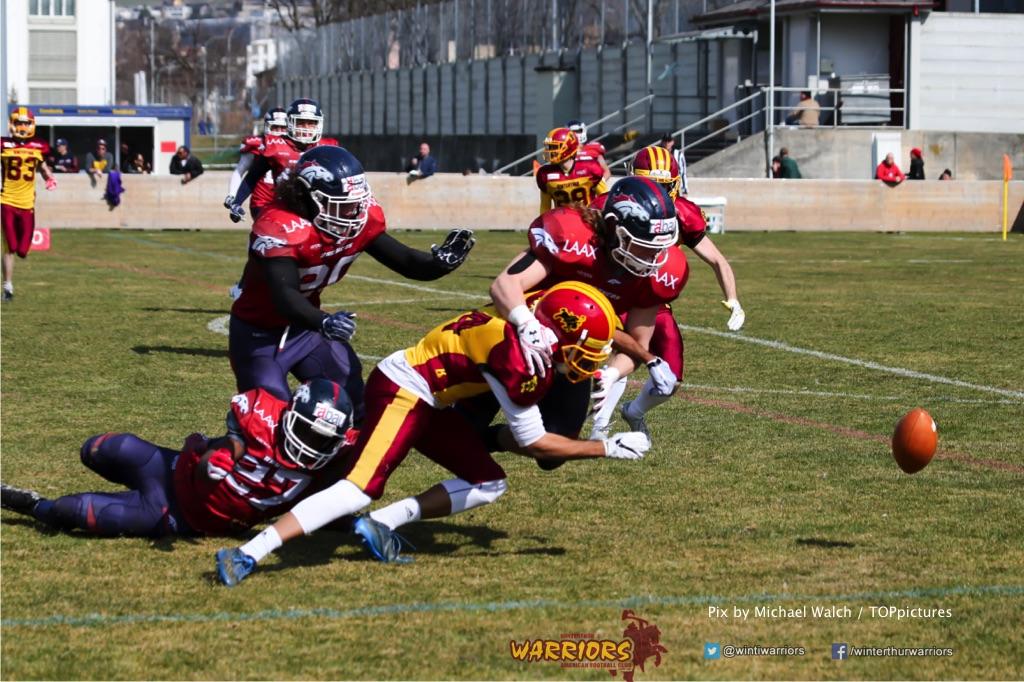 Beim US-Sports spiel der American Football - NLA zwischen dem Calanda Broncos und dem Winterthur Warriors, on Sunday,  25. March 2018 im Stadion Ringstrasse in Chur. (TOPpictures/Michael Walch)  Bild-Id: WAM_34751