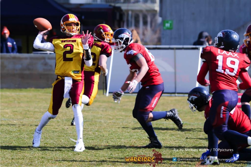 Alistair Ljubenovic #2 (Winterthur),beim US-Sports spiel der American Football - U19 zwischen dem Calanda Broncos und dem Winterthur Warriors, on Sunday,  25. March 2018 im Stadion Ringstrasse in Chur. (TOPpictures/Michael Walch)  Bild-Id: WAM_34448