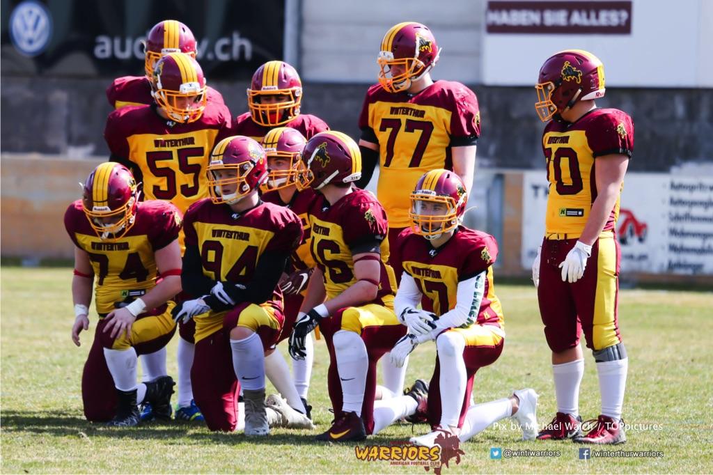 Beim US-Sports spiel der American Football - U19 zwischen dem Calanda Broncos und dem Winterthur Warriors, on Sunday,  25. March 2018 im Stadion Ringstrasse in Chur. (TOPpictures/Michael Walch)  Bild-Id: WAM_34588
