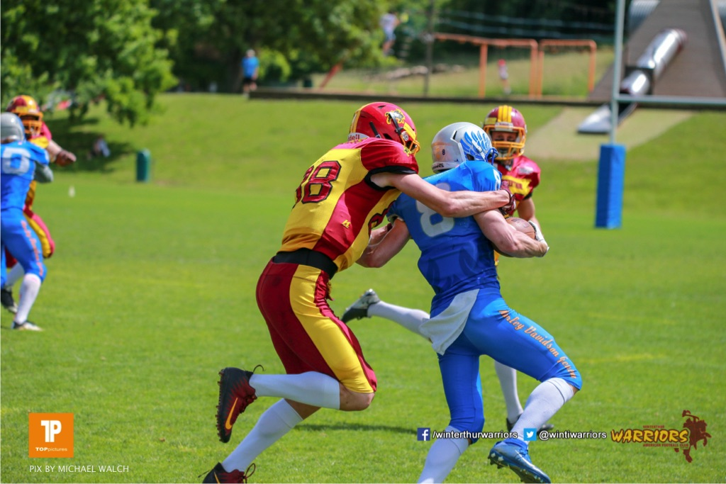 Beim US-Sports spiel der American Football - NLA zwischen dem Geneva Seahawks und dem Winterthur Warriors, on Sunday,  27. May 2018 im Centre Sportif de Vessy in Genève. (TOPpictures/Michael Walch)  Bild-Id: WAM_42594
