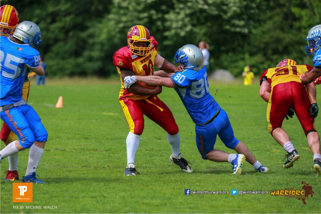 ,beim US-Sports spiel der American Football - NLA zwischen dem Geneva Seahawks und dem Winterthur Warriors, on Sunday,  27. May 2018 im Centre Sportif de Vessy in Genève. (TOPpictures/Michael Walch)  Bild-Id: WAM_42648