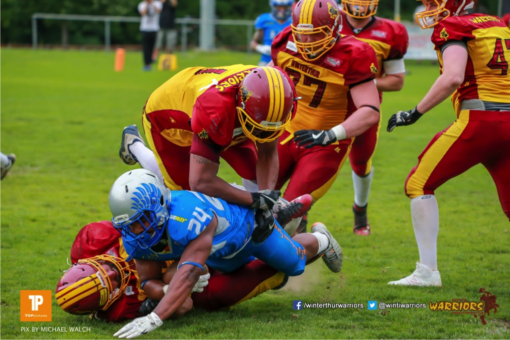 Beim US-Sports spiel der American Football - NLA zwischen dem Geneva Seahawks und dem Winterthur Warriors, on Sunday,  27. May 2018 im Centre Sportif de Vessy in Genève. (TOPpictures/Michael Walch)  Bild-Id: WAM_42726