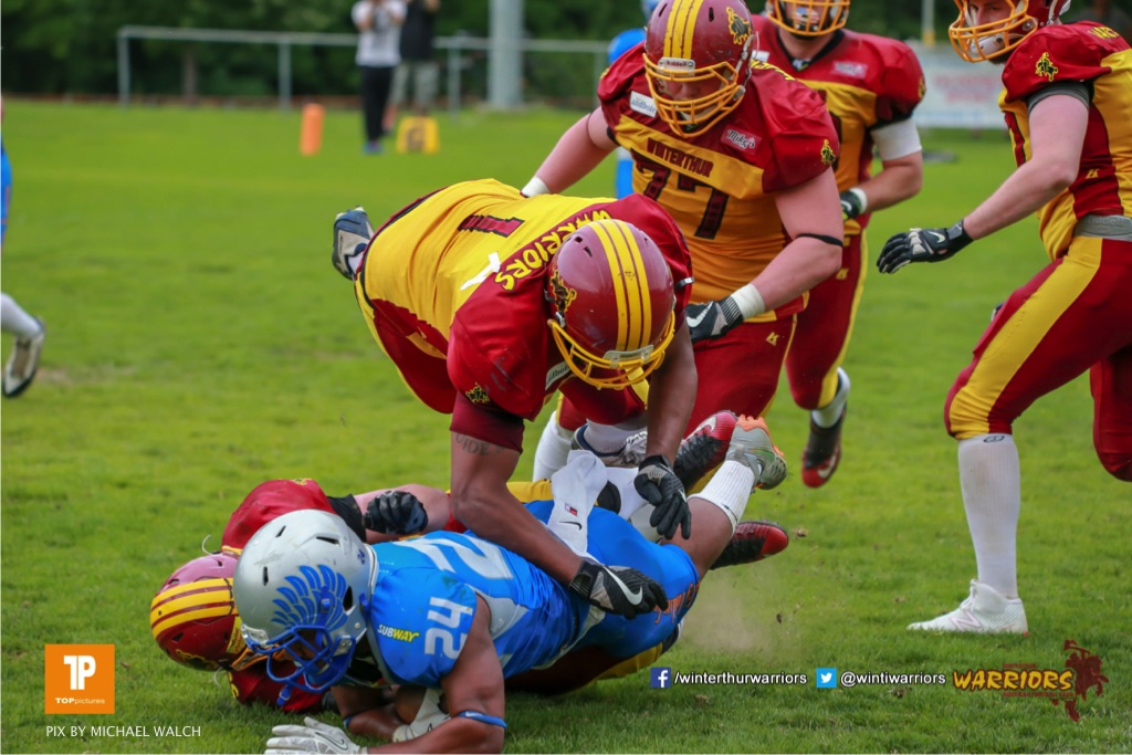 Beim US-Sports spiel der American Football - NLA zwischen dem Geneva Seahawks und dem Winterthur Warriors, on Sunday,  27. May 2018 im Centre Sportif de Vessy in Genève. (TOPpictures/Michael Walch)  Bild-Id: WAM_42727