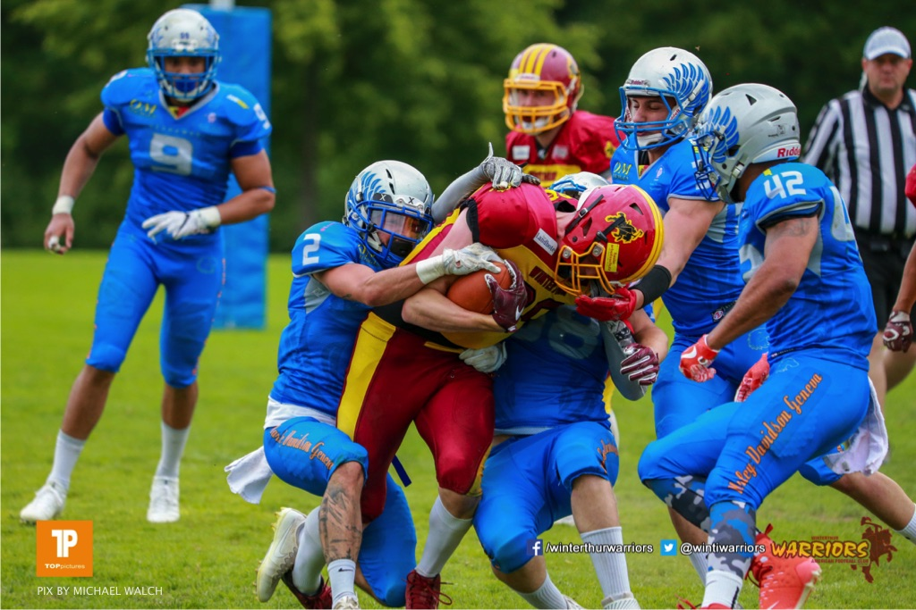 Beim US-Sports spiel der American Football - NLA zwischen dem Geneva Seahawks und dem Winterthur Warriors, on Sunday,  27. May 2018 im Centre Sportif de Vessy in Genève. (TOPpictures/Michael Walch)  Bild-Id: WAM_42747