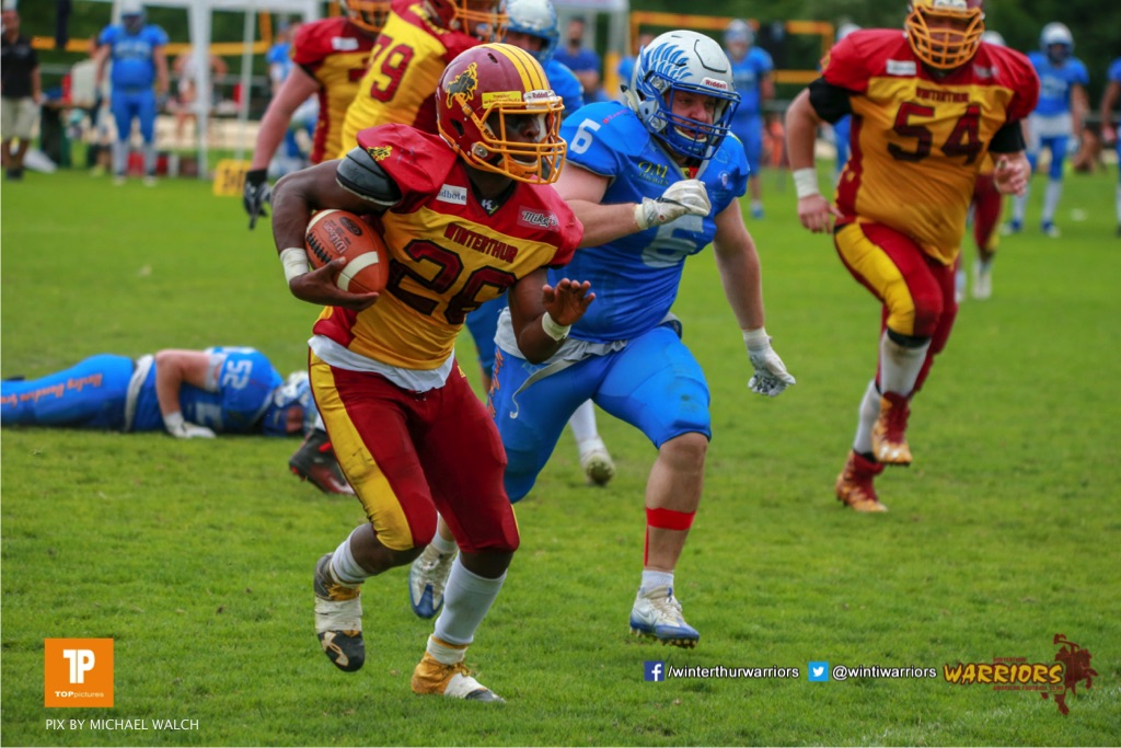 Ovbokhan Ogielegua #26 (Winterthur),beim US-Sports spiel der American Football - NLA zwischen dem Geneva Seahawks und dem Winterthur Warriors, on Sunday,  27. May 2018 im Centre Sportif de Vessy in Genève. (TOPpictures/Michael Walch)  Bild-Id: WAM_42756