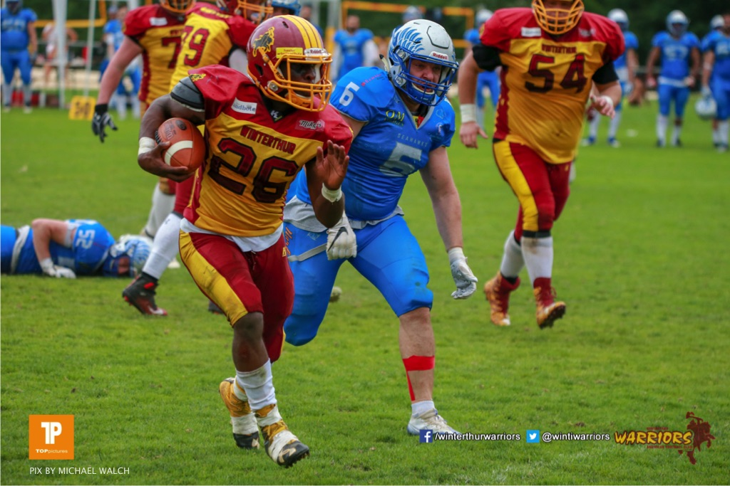 Ovbokhan Ogielegua #26 (Winterthur),beim US-Sports spiel der American Football - NLA zwischen dem Geneva Seahawks und dem Winterthur Warriors, on Sunday,  27. May 2018 im Centre Sportif de Vessy in Genève. (TOPpictures/Michael Walch)  Bild-Id: WAM_42757