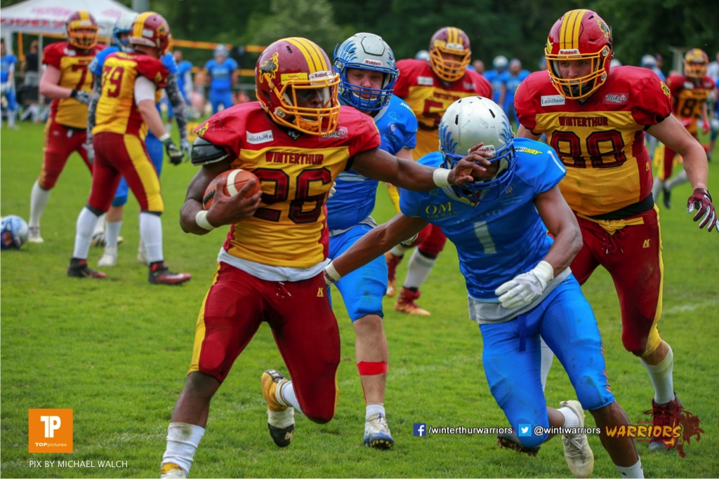 Ovbokhan Ogielegua #26 (Winterthur),beim US-Sports spiel der American Football - NLA zwischen dem Geneva Seahawks und dem Winterthur Warriors, on Sunday,  27. May 2018 im Centre Sportif de Vessy in Genève. (TOPpictures/Michael Walch)  Bild-Id: WAM_42758