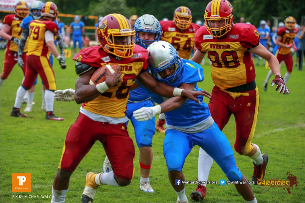 Beim US-Sports spiel der American Football - NLA zwischen dem Geneva Seahawks und dem Winterthur Warriors, on Sunday,  27. May 2018 im Centre Sportif de Vessy in Genève. (TOPpictures/Michael Walch)  Bild-Id: WAM_42759