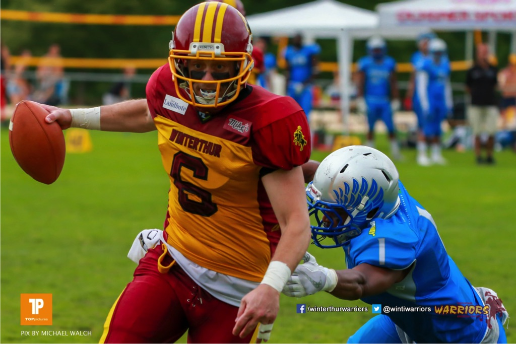 Zach Shaw #9 (Winterthur),beim US-Sports spiel der American Football - NLA zwischen dem Geneva Seahawks und dem Winterthur Warriors, on Sunday,  27. May 2018 im Centre Sportif de Vessy in Genève. (TOPpictures/Michael Walch)  Bild-Id: WAM_42775