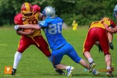 ,beim US-Sports spiel der American Football - NLA zwischen dem Geneva Seahawks und dem Winterthur Warriors, on Sunday,  27. May 2018 im Centre Sportif de Vessy in Genève. (TOPpictures/Michael Walch)  Bild-Id: WAM_42647