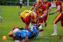 Beim US-Sports spiel der American Football - NLA zwischen dem Geneva Seahawks und dem Winterthur Warriors, on Sunday,  27. May 2018 im Centre Sportif de Vessy in Genève. (TOPpictures/Michael Walch)  Bild-Id: WAM_42727