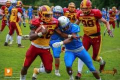 Beim US-Sports spiel der American Football - NLA zwischen dem Geneva Seahawks und dem Winterthur Warriors, on Sunday,  27. May 2018 im Centre Sportif de Vessy in Genève. (TOPpictures/Michael Walch)  Bild-Id: WAM_42759