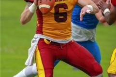 Zach Shaw #9 (Winterthur),beim US-Sports spiel der American Football - NLA zwischen dem Geneva Seahawks und dem Winterthur Warriors, on Sunday,  27. May 2018 im Centre Sportif de Vessy in Genève. (TOPpictures/Michael Walch)  Bild-Id: WAM_42770