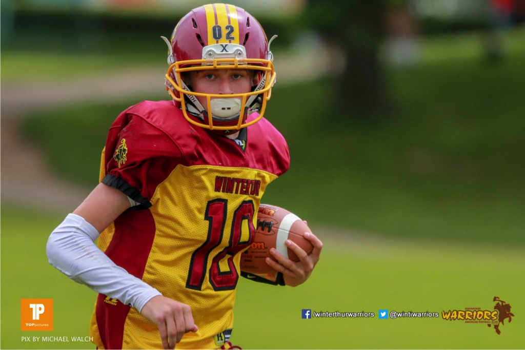 Magnus Geers #18 (Winterthur),beim US-Sports spiel der American Football - U19 zwischen dem Geneva Seahawks und dem Winterthur Warriors U19, on Sunday,  27. May 2018 im Centre Sportif de Vessy in Genève. (TOPpictures/Michael Walch)  Bild-Id: WAM_42529