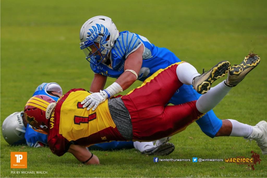 Noe Imark #11 (Winterthur),beim US-Sports spiel der American Football - U19 zwischen dem Geneva Seahawks und dem Winterthur Warriors U19, on Sunday,  27. May 2018 im Centre Sportif de Vessy in Genève. (TOPpictures/Michael Walch)  Bild-Id: WAM_42555